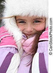 little girl wearing winter coat