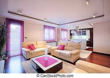 Home interior  - Interior of a modern home with furniture.