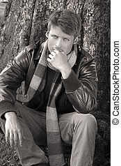 Man in fall fashion - Classically dressed young male model...