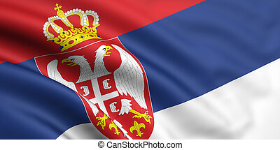Flag Of Serbia - 3d rendered and waving flag of serbia