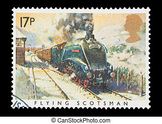 Flying Scotsman - Mail stamp printed in the UK featuring the...