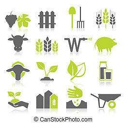 Icon agriculture - Set of icons on a theme agriculture A...