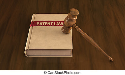 Patent law book with gavel on it Concept illustration