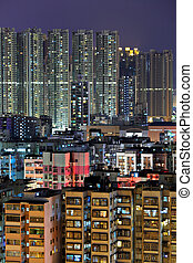 downtown in Hong Kong view from high at night