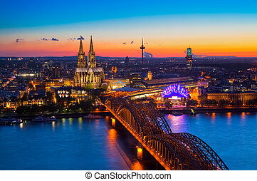 Cologne, Germany - Panorama of Cologne Koeln, Germany with...
