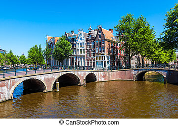 Amsterdam, the Netherlands - Typical Amsterdam scene with...