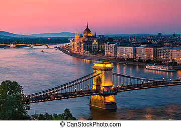 Budapest, Hungary - Panorama of Budapest, Hungary, with the...
