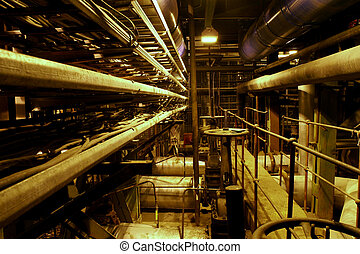 Equipment, cables and piping as found inside of a modern...