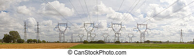 powerline electricity distribution network high mast with...