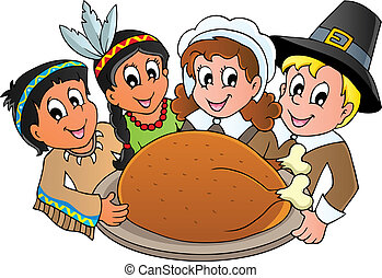 Thanksgiving pilgrim theme 3 - vector illustration