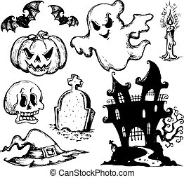 Halloween drawings collection 1 - vector illustration