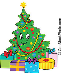 Christmas tree theme 1 - vector illustration.