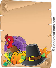 Thanksgiving theme parchment 2 - vector illustration.