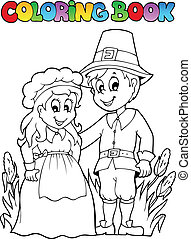 Coloring book Thanksgiving image 2 - vector illustration