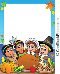 Thanksgiving theme frame 2 - vector illustration