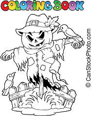 Coloring book Halloween scarecrow - vector illustration
