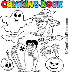 Coloring book Halloween topic 7 - vector illustration