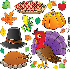Thanksgiving theme collection 1 - vector illustration.