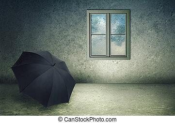 Forgotten umbrella - Forgotten black umbrella in a cold...