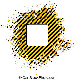 stripe splat - Abstract stripped yellow background with half...