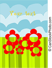 Abstract flowers on the green background with place for you text.