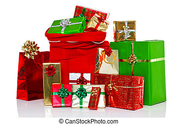 Christmas sack and presents isolated - A red Christmas sack...
