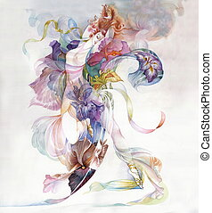 Allegory of Iris Flower, art, illustration, watercolor
