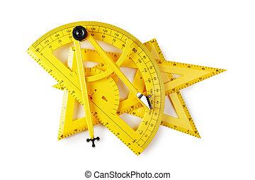 scuola, geometria, isolato, giallo, fondo, bianco, attrezzi