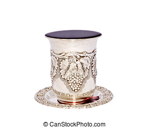 Jewish holiday kiddush cup - Silver cup with saucer filled...