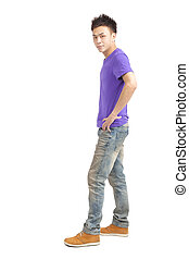 full length of stylish young asian man