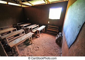 African Elementary School Classroom - Interior of an...