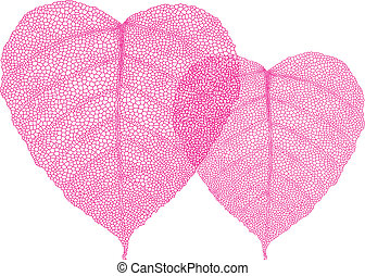 red heart leaves, vector - heart shaped red skeleton leaves,...
