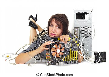 woman and computer motherboard - woman lying down holding...