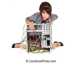 technology despair - hopeless woman and her broken computer