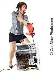 婦女, 電腦, 忿怒