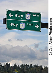 High way road sign