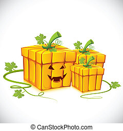 Halloween Gift - illustration of pumpkin shape gift box for...