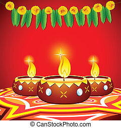 Decorated Diya - illustration of burning decorated diya on...