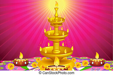 Golden Diya Stand - illustration of golden diya stand with...