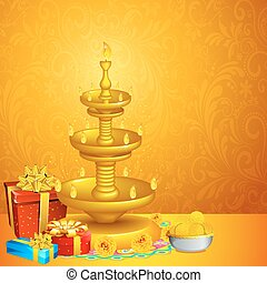Diwali Background - illustration of decorated diwali diya...