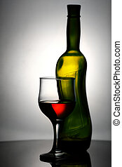 Abstract wine still life over grey backgrounds