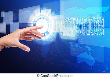 hand pushing a innovation button on touch screen interface,...