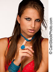 Beautiful young model in red underwear with jewelery