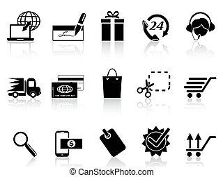 black e-commerce and shopping icon - isolated black...