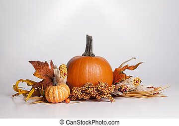 Fall Decoration - Several Fall items are clustered together...