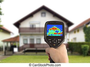 térmico, imagem, casa