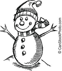 Cute Holiday Winter sketch Snowman