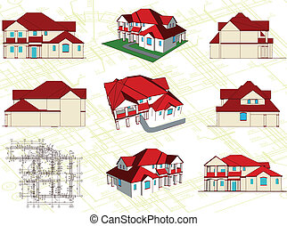 Set architectural objects. Vector