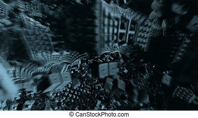 flight through dark alien complex