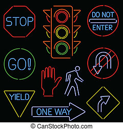 neon traffic signs - Set of traffic signs and symbols...